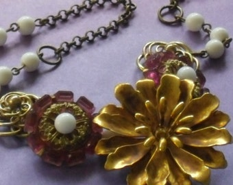 modern pink gold floral statement necklace-vintage assemblage mixed media jewelry-romantic bib necklace