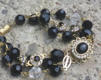 recycled assemblage black onyx rhinestones bracelet-vintage upcycled bracelet-dark romance jewelry-hollywood glamour