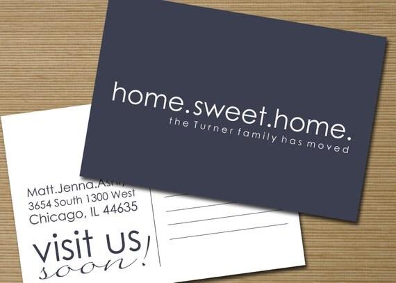 items similar to wir sind umgezogen postkarte druckbare home sweet home neue visitenkarte on. Black Bedroom Furniture Sets. Home Design Ideas