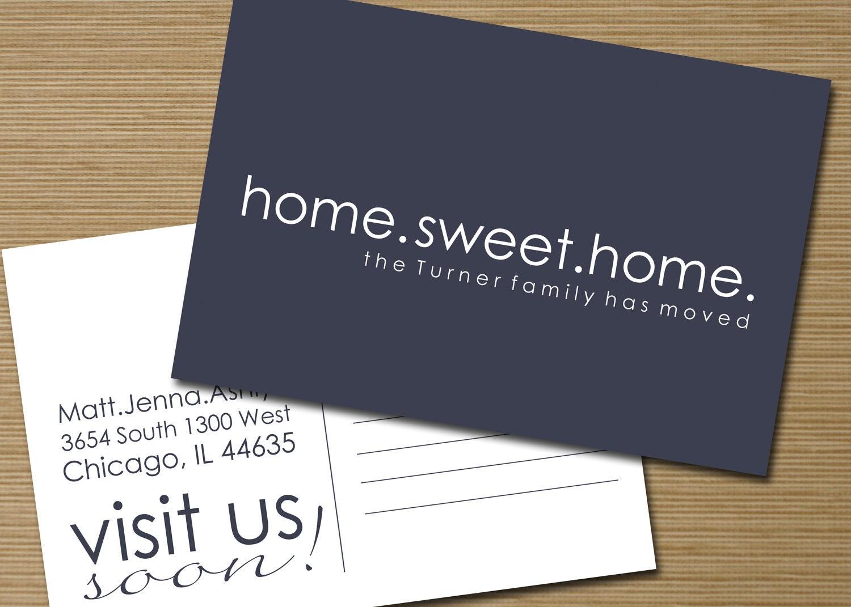 items similar to we have moved postcard printable home. Black Bedroom Furniture Sets. Home Design Ideas