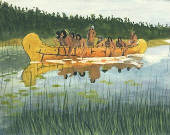 Native American Canoe 11x17 Print
