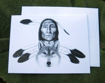 Native American and Wolf Notecard
