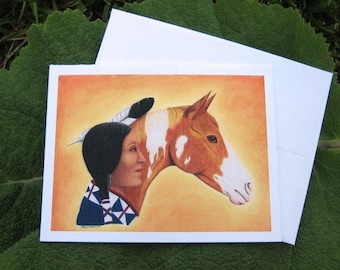 Native American and Horse Notecard