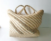 Vintage SUMMER STROLL Woven Straw Tote