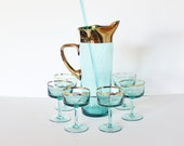 reserved...Vintage 50s GREEN Gold Ring Set of Six Glasses and Pitcher with Stir Stick