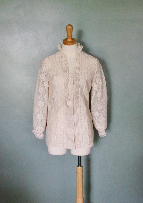 20 Dollar Sale Vintage 50s Lace Blouse, Women Medium/Large