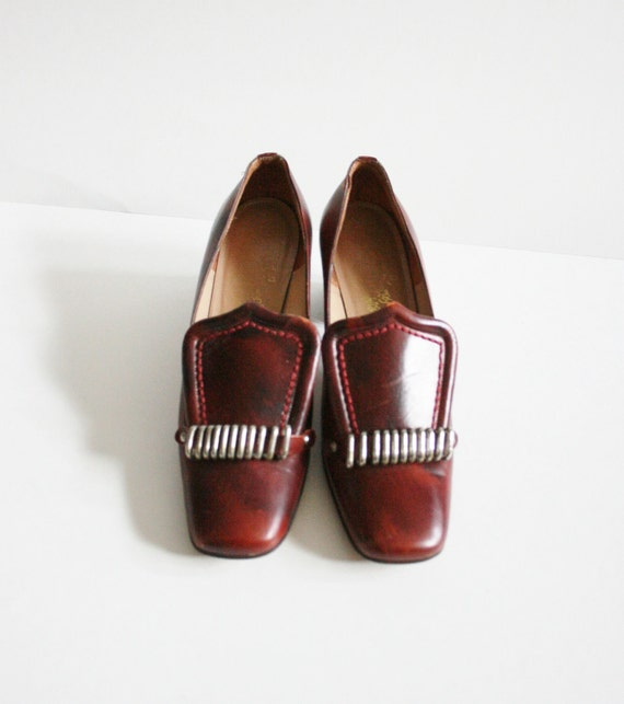 Vintage 60s Rosina Ferragamo Schiavone - Red Brown Heels - Women 6.5 Narrow
