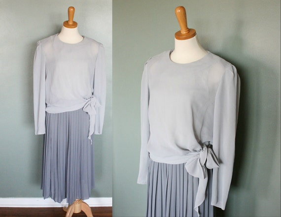 Vintage 70s PLEATED Skirt Dress - 2 Tone Gray - Women M L