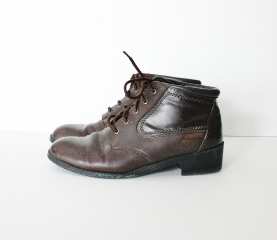 Vintage SPORTO Ankle Low Heel Brown Leather Boots - 1980s - Women 8.5M