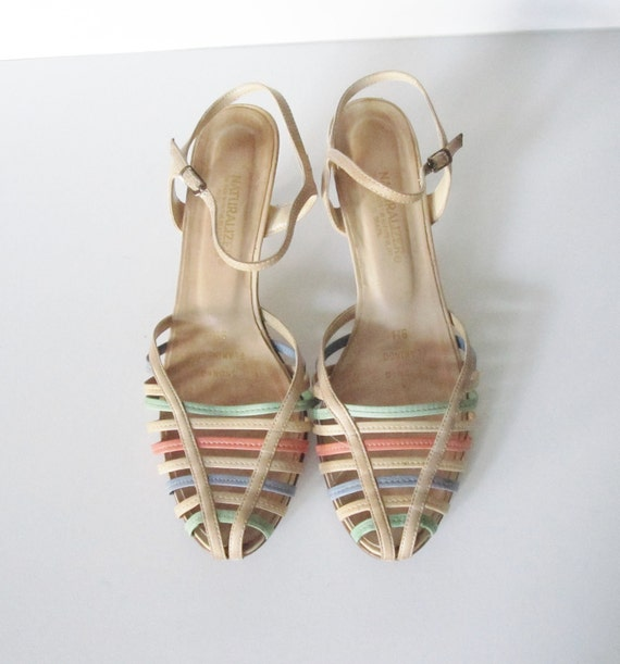 20 Dollar Sale Vintage 80s WOVEN Huarache Kitten Heel Stacked Wedge - Naturalizer - Women 9