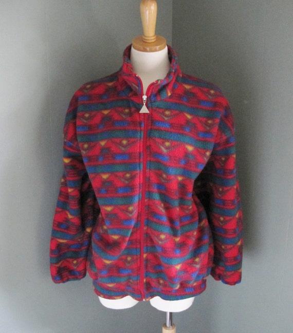 Vintage AZTEC Print Fleece Jacket - Active Sensation - Women Medium