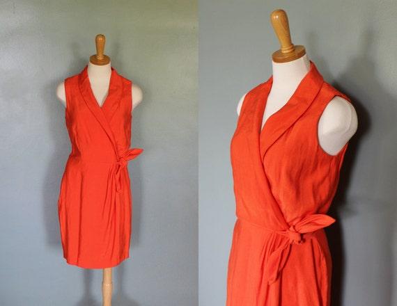 20 Dollar Sale - Vintage 80s TANGERINE Orange Dress - Women M - Positive Attitude Faux Wrap