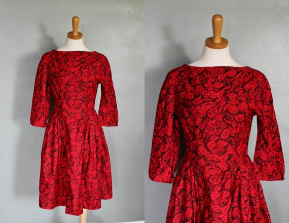 20 Dollar Sale - Vintage 60s RED and BLACK Party Dress - Mad Men - Women S M