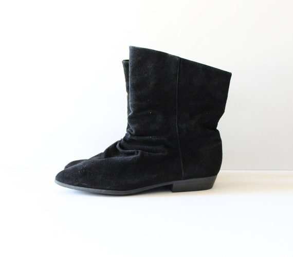 20 Dollar Sale - Vintage 80s Bootalinos Ankle Boots - Black Suede Leather - Women 9M