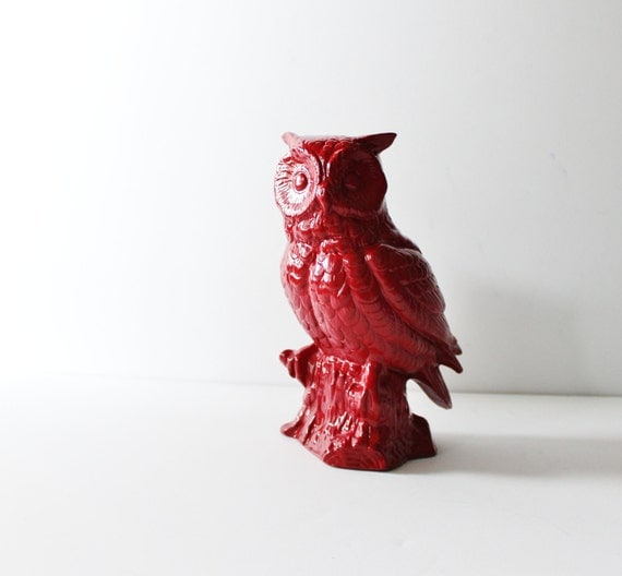 Rustic Red Owl Upcycled Ceramic Figurine - Kitsch
