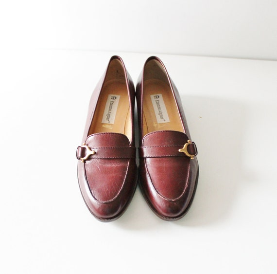 15 Dollar Sale Vintage Etienne Aigner Loafers - Burgundy Leather - Women 7 narrow