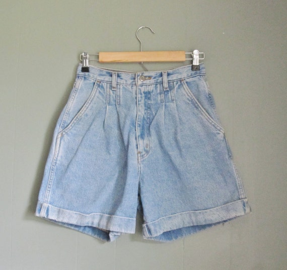 Vintage 80s HIGH WAIST Denim Shorts - Rolled Bill Blass - Women S Pleated