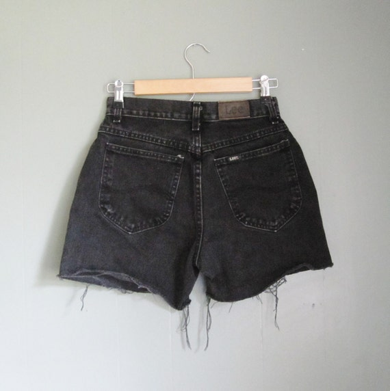 Vintage 80s LEE Light Black Denim Shorts - Women S M