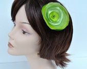 MOVING SALE--Simply Stunning Pistachio Lime Satin and Organza Dual Tone Flower Clip
