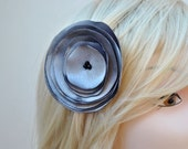 MOVING SALE--Smoky Silver Satin Flower Hair Clip