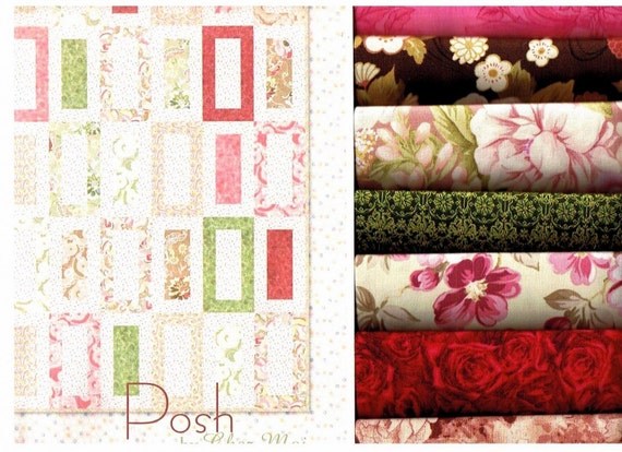 Quick Easy One Block Quilt Kit Free Moda Pattern Posh by Chez Moi