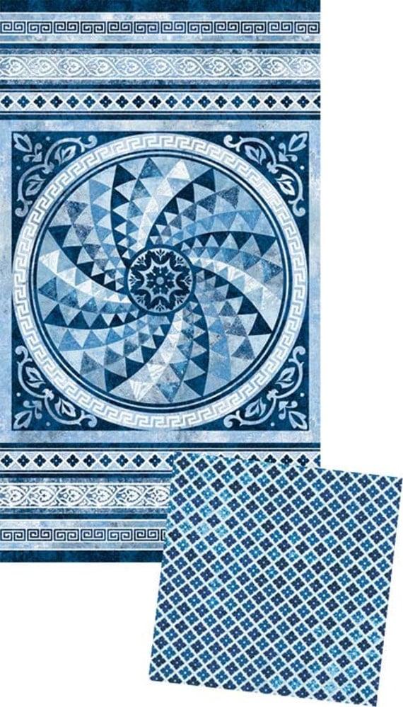 Stonehenge Apollo Blue White Tile Quilt Kit Easy Panel Quilt Kit