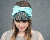 Miss Lucille  - Turban Bow Headband with Veil