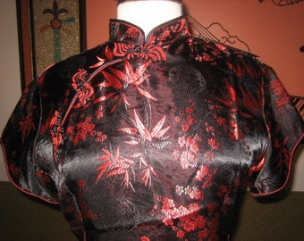 Asian Inspired Black and Red Traditional Blouse