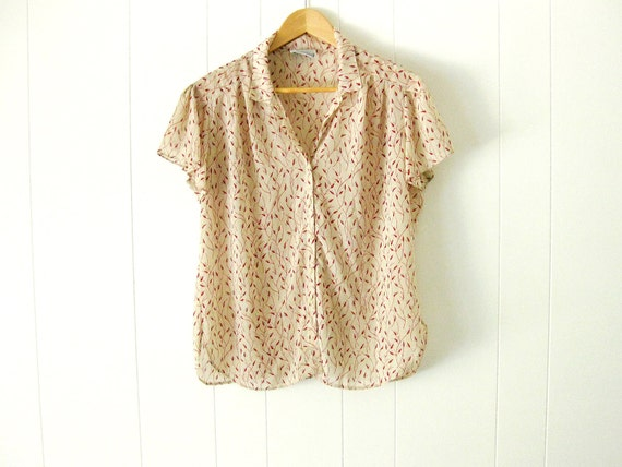1970s campus casuals semi sheer floral flutter sleeve button down top l