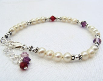 Custom birthstone, family, mothers bracelets for 3 to 6 birthdays
