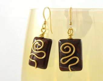 Wire wrapped earrings semi precious tiger eye Box of Chocolates