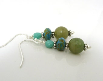 Olive and turquoise dangle earrings on sterling silver