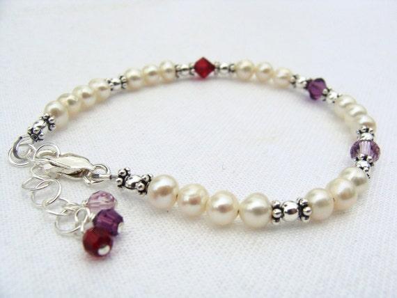 Custom birthstone, family, mothers bracelets for 3 to 6 birthdays