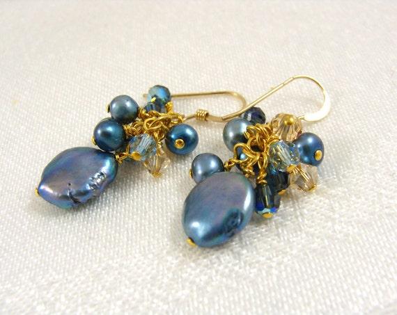 Pearl cluster earrings gold blue dangles