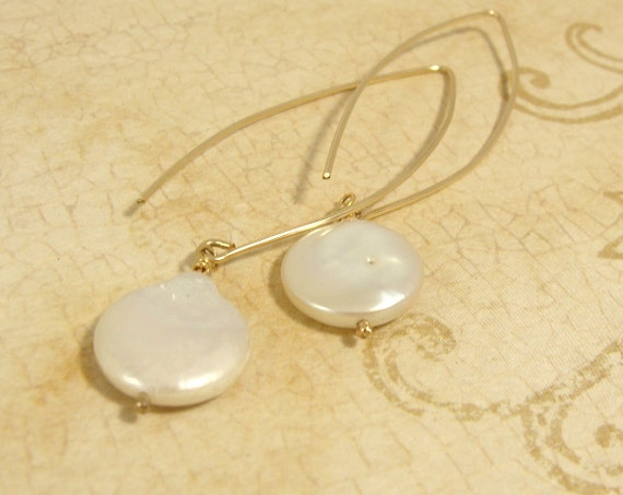 Freshwater coin pearls on long handmade goldfilled earwires