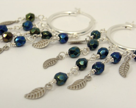 Sterling silver hoop earrings with dark blue green metallic beads and leaves Bohemian