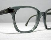 Vintage EyeGlasses Frames Mens Horn Rim Gray Safety Glasses. Mad Men Style. AO