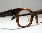Thick Horn Rim Vintage Eyeglasses. Mens Brown Tortoise Eyeglass Frames. New Old Stock.