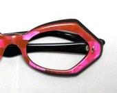 Vintage 60s Mod Neon Pink 3D Design Eyeglass Sunglasses Frames