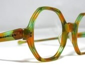 Vintage Eyeglasses. Octagonal Shape in green and orange. Boho Chic
