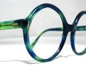 Vintage Oversized Eyeglasses Sunglasses. 60s Groovy Green and Blue Frames