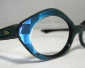 Vintage 60s Mod 3D Blue Cat Eye Glasses. Eyeglass Frames