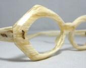 Vintage 60s Mod White Wood Look Eyeglasses Sunglasses. Faux Bois
