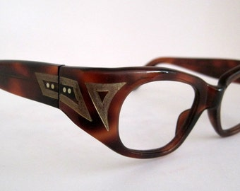 Vintage Cat Eye Glasses. 50s 60s Art Deco Design
