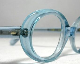 Vintage Eyeglasses 60s Round Eye Glass Frames Aqua