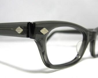 Vintage EyeGlasses. Horn Rim 50s Gray Translucent Frames.