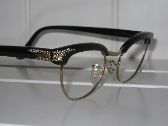 Vintage Rhinestone Cat Eye Eyeglass Frames. Shuron 12 karat gold filled. 1950s 1960s