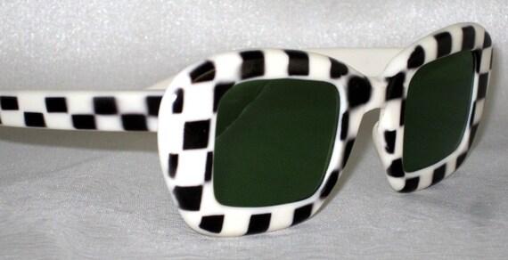Vintage Sunglasses. 60s Black and White Checkered.