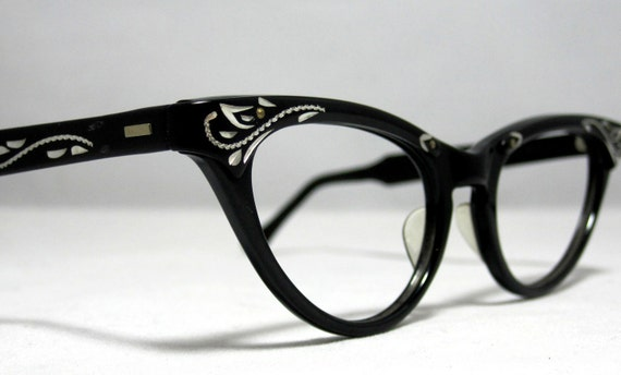 vintage cat eye glasses frames black and silver with etched designs nos