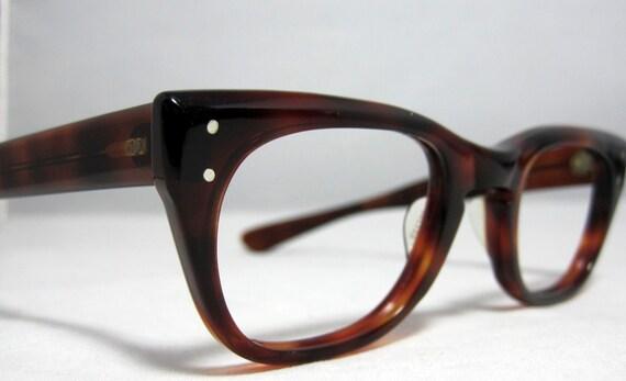 Vintage Eyeglasses. Thick Horn Rim Mens Glasses.